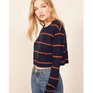 Reformation Chloe Stripe Long Sleeve Crop Top